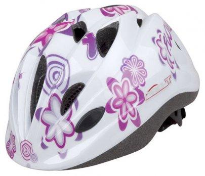 Přilba PRO-T Plus Toledo In mold dětská bílá-květy