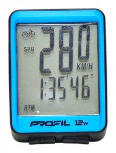 cyklocomputer PROFIL 12W bezdrátový černo-modrý