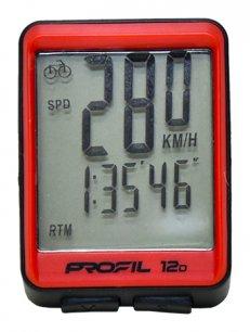 cyklocomputer PROFIL 12D drátový černo-červený