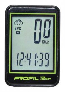 cyklocomputer PROFIL-1501 12SW bezd. černo-zelený