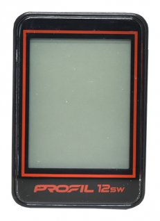 cyklocomputer PROFIL-1501 12SW bezd. černo-červený
