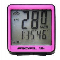cyklocomputer PROFIL 12D drátový černo-růžový