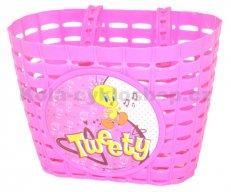 dětský koš na kolo plastový růžový TWEETY
